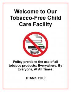 Child Care Center Tobacco Free Signage English