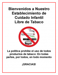 Child Care Center Tobacco Free Signage Spanish